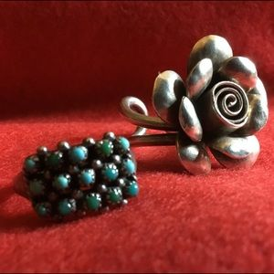 Jewelry - VTG STERLING LOT OF ROSE BUD AND JASPER RINGS 6.5